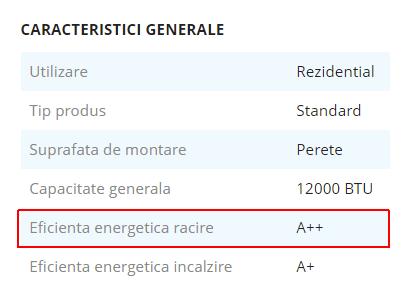 caracteristici generale aparat aer conditionat eficienta energetica racire