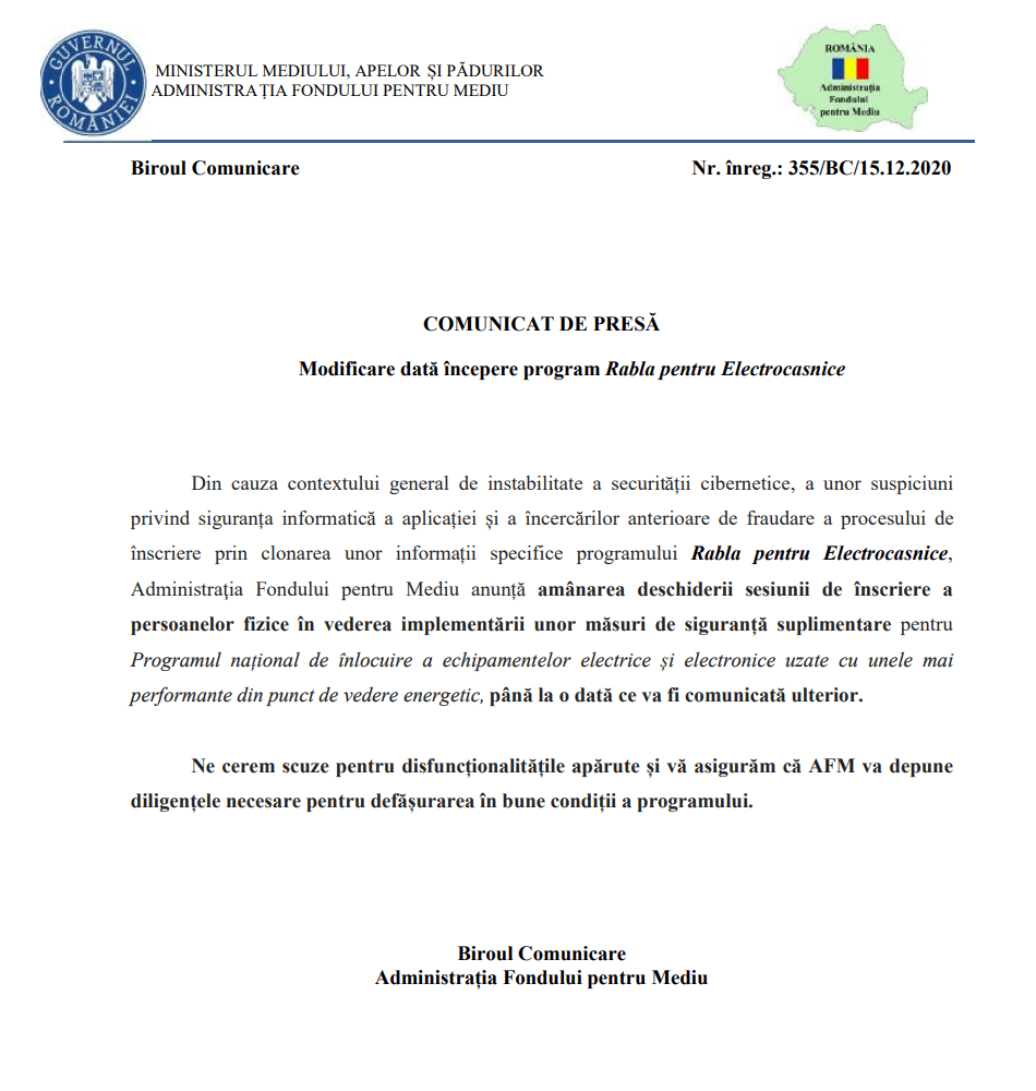 comunicat presă AFM program rabla electrocasnice 15.12.2020