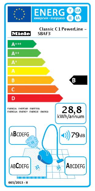 eticheta clasa energetica B aspirator