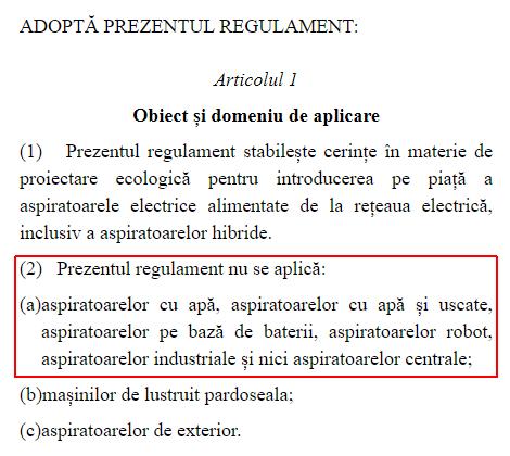 regulament UE Comisia Europeana nr 666/2013 proiectare aspiratoare articol 1