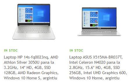 top laptopuri vandute de Altex
